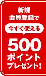 新規会員登録で今すぐ使える500ポイントプレゼント